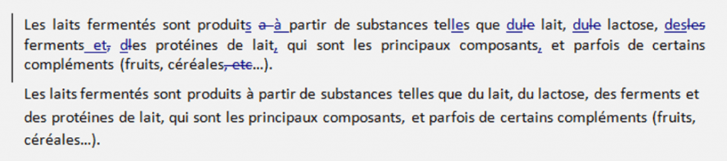 Exemple de correction simple, texte corrigé